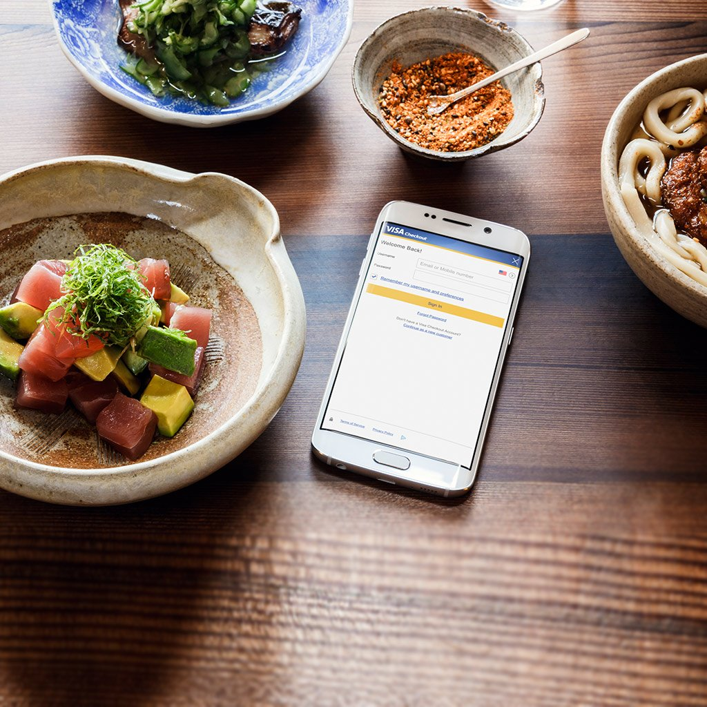 Smartphone next to dinner plates