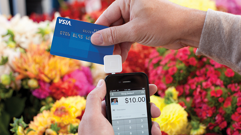 Paying with Square at the flower market