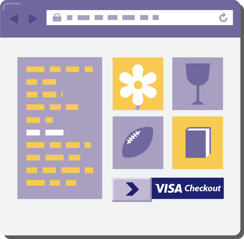 Graphic of online shop with Visa Checkout button