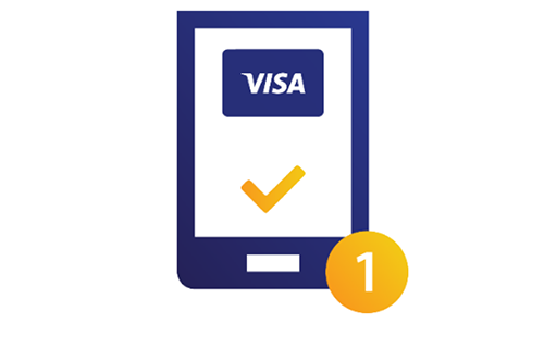 Illustration of a tablet displaying a Visa gift card with a check mark at the bottom.