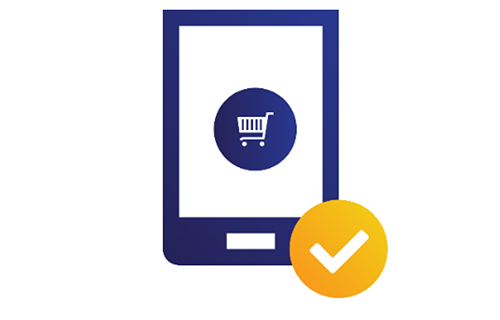 Illustration of tablet displaying a shopping cart with a check mark at the bottom.