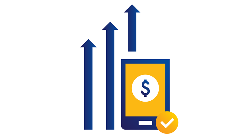 Illustration of upward trending arrows behind tablet displaying dollar sign.