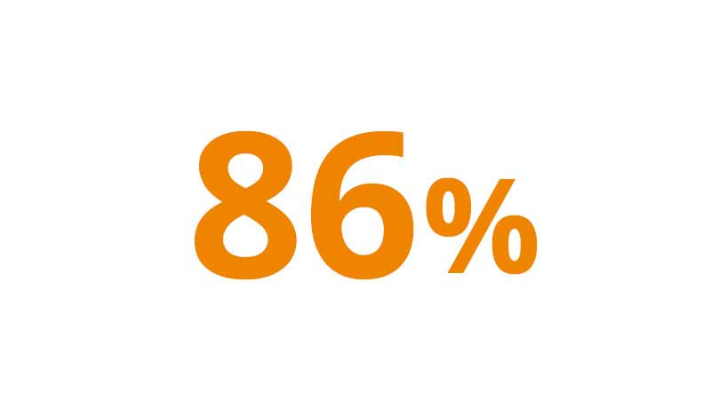 A graphic illustration of 86 percent.
